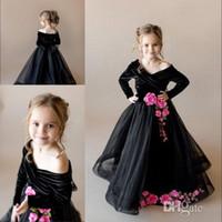 vestido de manga de organza flor preta venda por atacado-