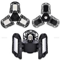 ingrosso soffitto regolabile-Luci da garage a LED, 60W E27 6000LM Lampada da soffitto deformabile per aree complete, lampade da miniera ultra-luminose con 3 pannelli regolabili, luce a LED