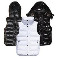 kadın kış moda ceketi toptan satış-Moda Erkekler ve kadınlar kış aşağı yelek tüy weskit ceketler bayan casual yelek ceket erkek aşağı ceket Kapüşonlu yelek