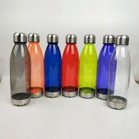 ingrosso plastica della bottiglia di coke-25OZ Cola Bottle singolo strato di plastica Coke bottiglia in acciaio inox Coperchio inferiore esterna della bottiglia di acqua personalizzabile logo a colori A03