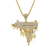 chaînes multi brins de collier achat en gros de-Hommes Hip-hop glacé bling ouzbek pistolet pendentif en forme de colliers pave sertissage Zircon cubique charme collier Collier cadeau de bijoux Hiphop