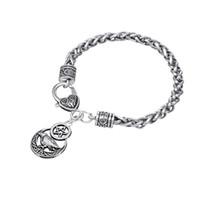 Wholesale wind animals resale online - BC33 Round Pentagram Raven Animal Bracelet Pendant Lucky Charm Pendant Bracelet Ethnic Bracelet Wind Jewelry
