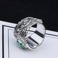 türkis-schlangenring groihandel-S925 Silver Double Snake Turquoise Ring Vintage Sterling Silver Malachite Snake Ring Men and Women Thai Silver Malachite Tiger Head Ring