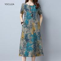 722c7aeda3d Wholesale plus size ol dress online - 2018 Cotton Linen Summer Women Loose Plus  Size Casual