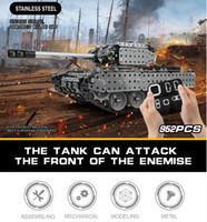 militärischer kanal großhandel-952 stücke DIY Edelstahl Fernbedienung Tank 10 Kanäle RC Military Tracked Vehicle Beste Geschenk für Kinder