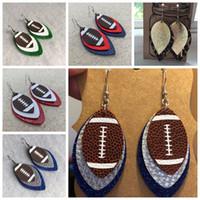 futbol topları leopar toptan satış-pu deri küpe leopar baskılı küpe çift veya ragbi küpe kadın moda aksesuarları takı üç katmanları futbol spor