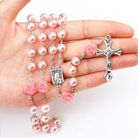 cadena de collar de rosario de acero inoxidable al por mayor-Cadena 6 mm Rosario Cruz collares pendientes de perlas de imitación de joyería de acero inoxidable borla larga cristiana para las mujeres de moda