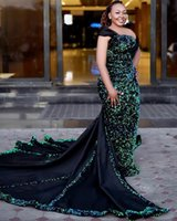 Wholesale black sequin one shoulder prom dress resale online - Shiny Sequined Mermaid Evening Dresses with Long Train One Shoulder Glitter Plus Size Formal Evening Gowns Satin Long Prom Dress