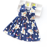 altmodische sommerkleider groihandel-Babykleidungsart und weise 2019 Kindermädchen, die Sommer-Strand-Kleider 3-8 Jahre alt kleiden 36 Farben-Blumenkleid für Mädchen