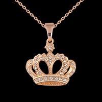 corona de chicas guapas al por mayor-Encadenamiento bonito del collar de las mujeres de la aleación Gargantilla Cristales Corona collares pendientes de la muchacha hermosa joyería collar de regalo