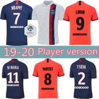 Wholesale psg soccer jersey for sale - Group buy Player version PSG soccer jersey Paris DI MARIA MBAPPE CAVANI VERRATTI germain GANA ICARDI home away third football shirt