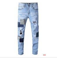 pantalones de jeans de marca al por mayor-Diseñador de los pantalones vaqueros de los hombres de moda apenada streetwear del estilo jeans para hombres Pantalones vaqueros rasgados ocasional clásico recto Denim Jeans Brand delgadas para hombre