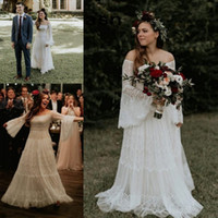 Wholesale modern western dresses for sale - Group buy 2019 A Line Lace Bohemian Wedding Dresses Western Country Garden Forest Off Shoulder Long Sleeve Bridal Gowns Plus Size