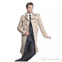 ingrosso uomini britannici di soprabito-Trench Uomo Classic Doppio Petto Mens cappotto lungo Dimensione Uomo abiti lunghi Giacche Cappotti British Style cappotto S-6XL