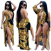 traje de baño de manga al por mayor-S-XXL Sexy Printing Long Sleeve Cover up traje de baño de diseñador para mujer Conjunto de dos piezas Traje de baño de una pieza con cuello en v traje de baño sexy