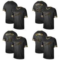 ingrosso sfere di jersey di baseball-2019 Uomo Los Angeles 22 Clayton 35 Cody 42 Black Gold Edition Dodgers Maglie da baseball camicia cucita Vuoto No Nome No Numero