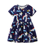 3d7dc10b9b7e Baby Girl Dresses 2019 Summer New Kids Designer Clothes Cotton Striped Kids Clothing  Party Dress Unicorn Party