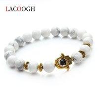мала черное золото оптовых-Natural Stone 8mm Black Lava  Bracelet Men Gold Color Hand Charm Energy Yoga Mala Bracelets For Women Bangle Drop Shipping