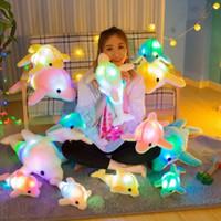 Wholesale kawaii stuffed animals online - 4 Colors cm Glowing Dolphin Luminous Plush Toys Kawaii LED Dolphin Stuffed Plush Animals Kids Christmas Toys Novelty Items CCA11135