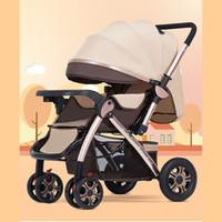 hafif hafif toptan satış-Yüksek peyzaj arabası oturarak oturabilir hafif katlanır bebek arabası dört tekerlekli bebek iki yönlü taşıma