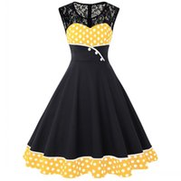 vintage siyah polka nokta elbise toptan satış-Wang zhihao Yaz Kadın Siyah Polka Dot Patchwork Vintage Elbise 2019 Rockabilly Salıncak Pin Up Zarif Bayanlar Parti Elbiseler Artı Boyutu S-4XL