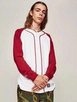 beyzbol gömlek uzun kollu toptan satış-Beyzbol T-Shirt Erkek Marka Moda Yaz Uzun Kollu T-Shirt 2019 Sıcak Satış Rahat Streetwear Basebll Tee Üst