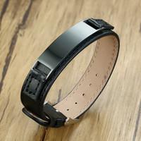 мужские кожаные браслеты на заказ оптовых-Пользовательские Мужские браслеты 99% черный натуральная кожа браслеты персонализированные нержавеющей стали ID Tag мужской парень подарки