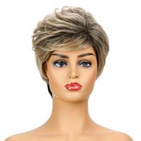Perücke Schwarz Gemischte Blonde Perücke Kurze Pixie Frisur Perücken Für Weiße Frauen Kunsthaar Hochtemperaturfaser