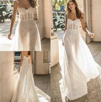 Wholesale simple lace bridal wedding dress online - Muse by Berta New Wedding Dresses Spaghetti Full Lace Bridal Gown Beach Boho Simple See Through Wedding Dress Modest