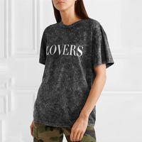 erkekler için gri gömlekler toptan satış-19SS AM1R1 Gri Çatlak T Gömlek Severler Baskılı Erkek Kadın Yaz Sokak Bağbozumu Basit Kısa Kollu Rahat Moda Tee T-shirt HFYMTX540