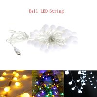 luz de globo led impermeable al por mayor-USB 5V Powered Portable Globe Ball Led String Light Holiday Light 3M 6M Impermeable En / Al aire libre Decoración de la Lámpara de Navidad de Hadas