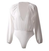 leotardos blancos de manga larga al por mayor-Mamelucos de manga larga para mujer Tops de maillot Blusa Vendaje Monos Mono Clubwear Deep V Blanco Otoño Trajes Conjunto de ropa femenina