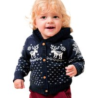 Wholesale photographs clothing resale online - Newborn Baby Knitted Sweaters Boy Girls Girl Santas Clothing Sweater Kids Winter Clothes Baby Christmas Photograph Clothes M