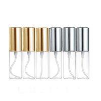alüminyum sprey parfüm şişesi toptan satış-Mini Ince Mist Temizle 5 ml 1/6 OZ Atomizer Cam Şişe Sprey Doldurulabilir Parfüm Parfüm Boş Koku Şişe W / Alüminyum Püskürtücü Altın / Gümüş