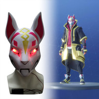 лицевая охлаждающая маска оптовых-Kitsune Fortniter Mask Дрифт Фокс с Led Light Battle Royale Анфас Хэллоуин Маска для вечеринки Бестселлер Костюм Крутая маска