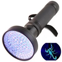 uv lila taschenlampe großhandel-Super Bright 100LED UV Licht 395-400nm LED UV Taschenlampe Lila Licht LED Taschenlampe Tragbares violettes Licht ZZA515