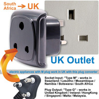 Wholesale fuse adapter resale online - South Africa pin Large Plug Type M Adapter Convert to pin UK Socket BS Approved A Fuse with Safety Shutter Pack of Black