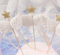 Wholesale pink baby shower cupcakes for sale - Group buy Angel Wings cake Decor Toppers Little Star Satin Tassel Cupcake Toppers Picks for Baby Shower Birthday Weddding White Pink Blue Black