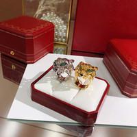 leopardo de oro rosa al por mayor-925 joyería de plata esterlina del partido de la manera de la marca para las mujeres del oro negro del patrón de la boda de la pantera del anillo del leopardo J190716