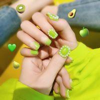 nette 3d nagelkunst großhandel-24pc 3D nette falsche Nägel Full Cover Artificial Grün Erdbeere-Frucht-Dekor Red Künstliche Nägel Presse auf Nail Art Kurz Nagel-Kunst