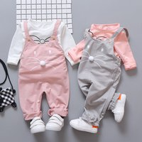 Wholesale winter baby clothing sets for sale - Group buy Fashion baby girls clothes sets long sleeve T shirt pants children kids outside wear sports suit