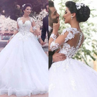 Wholesale plus sized ball gowns resale online - Jewel Sheer Neck Ball Gown Wedding Dresses Illusion Back Long Sleeves Lace Appliques Floor Length Court Train Bridal Gown Dress