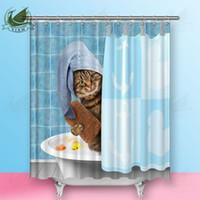 ingrosso docce rosse docce-Vixm Cartoon Cute Cat Pulizia Denti Tende da Doccia Creativo Red Rose Petal Bulldog Francese Tessuto In Poliestere Tende Per La Decorazione Domestica