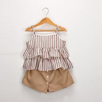Wholesale tiered clothing resale online - 2019 Fashion Summer Baby Girl clothes Striped Tiered Shirt Tops Spaghetti strap Pantskirt Buttons Front Cotton set Hotsale