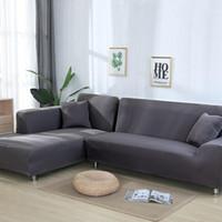 Grau Farbe Elastic Couch-Sofa-Abdeckung Loveseat Abdeckung Sofa Abdeckungen  für Wohnzimmer Sectional Slipcover Sessel Möbel