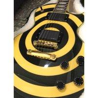 gelbe schwarze kundenspezifische gitarre großhandel-Neue Custom Shop Zakk Wylde Schwarz Gelb Bullseye E-Gitarre Aktiv E-M-G Pickups Gold Hardware
