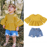 Wholesale fashion baby clothes for sale - Baby girls outfits Yellow Flare Sleeve tops Hole Denim shorts set summer fashion Boutique kids Clothing Sets B11