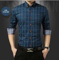 ingrosso importati più abiti di formato-2019 Camicia Uomo Plaid No Pocket Slim a maniche lunghe Casual Plus Size Dress Shirt Imported-abbigliamento Abiti Mens