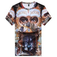 michael jackson tişörtler toptan satış-Pop Şarkıcı Michael Jackson Son Sıcak Moda T-Shirt Erkek / Kadın 3D Baskı Yaz Unisxe Crewneck Casual Kısa Kollu Hip Hop N937 Tops