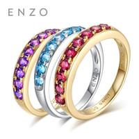 anillos de granate de oro amarillo al por mayor-ENZO Natural Gemstone 0.50 Ct Amatista 9K Anillo de oro amarillo para las mujeres joyería fina granate y topacio azul